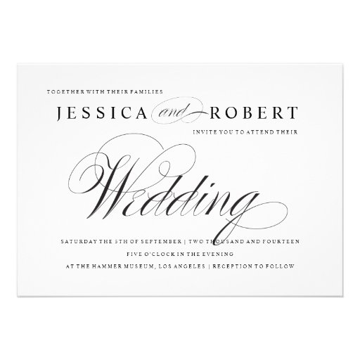 Black & White Elegant Script Wedding Invitation Custom Invitations