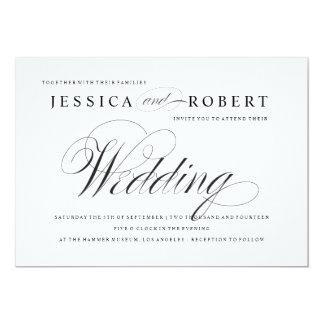 Black & White Elegant Script Wedding Invitation