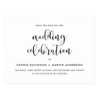 Black & White Elegant Script Wedding Save The Date Postcard