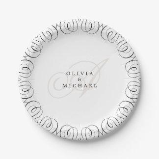 Black white elegant vintage flourish calligraphy paper plate
