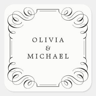 Black white elegant vintage flourish calligraphy square sticker