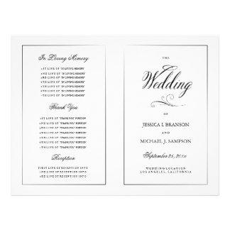 Black & White Elegant Wedding Program Template 21.5 Cm X 28 Cm Flyer