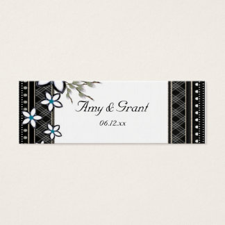 Black & White Elegant with Pale Flowers Wedding Mini Business Card