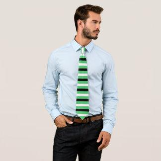 Black, White, Emerald Stripes Pattern Tie