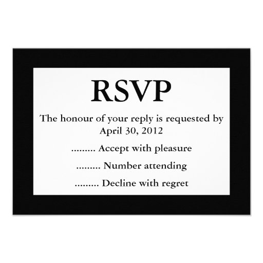 Black & White Event Reply, RSVP or Response Cards Personalized Announcements