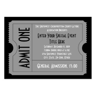 Black+White Event Ticket Pack, Lg Business Card Sz