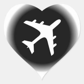 Black white fade airplane design heart sticker