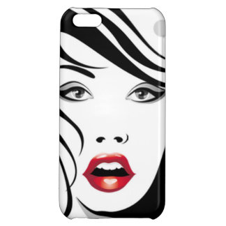 Black & White Fashion Girl with Red lips | iPhone 5C Cases