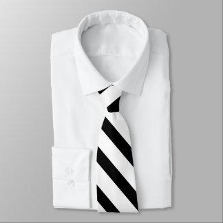 Black White Fat Tuxedo Stripe Formal Tie