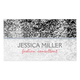 Black & White Faux Disco Glitter & Diamonds Pack Of Standard Business Cards