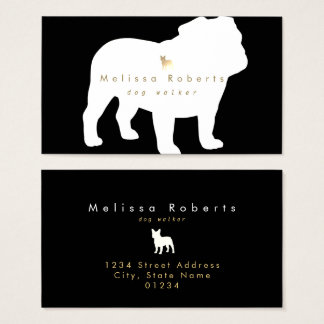 black white faux gold bulldog silhouette business card
