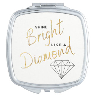 Black White Faux Gold Shine Bright  Diamond Script Travel Mirror