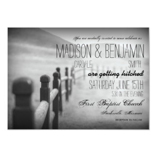 Black White Fence Post Rustic Wedding Invitations