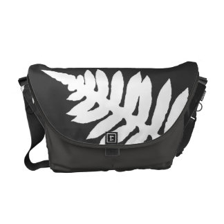 Black & White Fern Commuter Bag Courier Bag