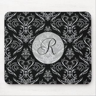 Black & White Fine Shading Pattern-Monogrmed Mouse Pad