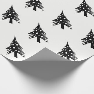 Black white fir wrapping paper