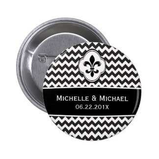 Black White Fleur de Lis Chevron Pattern 6 Cm Round Badge
