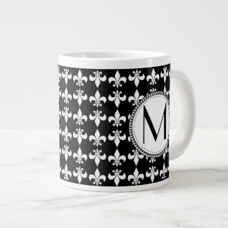 Black | White Fleur de Lis Monogram Pattern Large Coffee Mug
