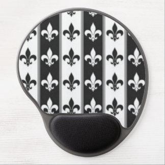 Black White Fleur De Lis Pattern Print Design Gel Mouse Pad