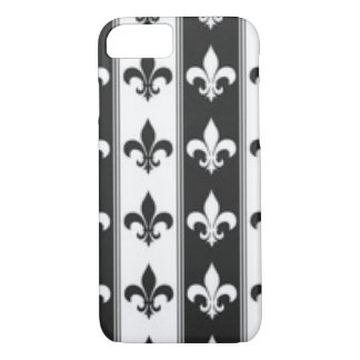 Black White Fleur De Lis Pattern Print Design iPhone 8/7 Case