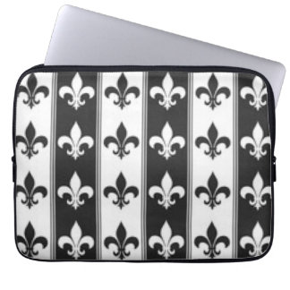 Black White Fleur De Lis Pattern Print Design Laptop Sleeve