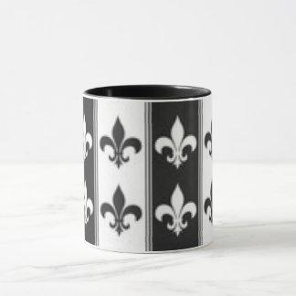 Black White Fleur De Lis Pattern Print Design Mug