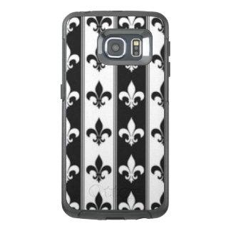 Black White Fleur De Lis Pattern Print Design OtterBox Samsung Galaxy S6 Edge Case