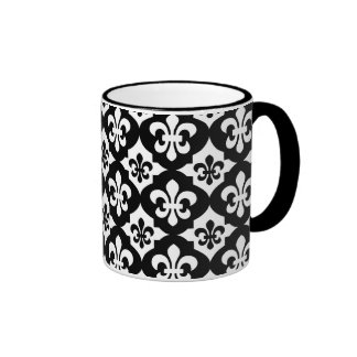 Black White Fleur De Lis Pattern Ringer Mug