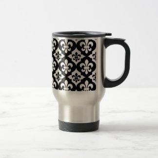 Black White Fleur De Lis Pattern Stainless Steel Travel Mug