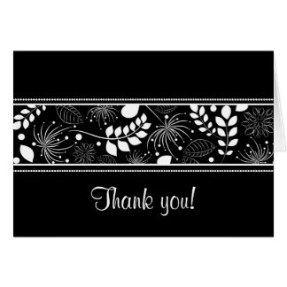 Black white floral border Thank you card
