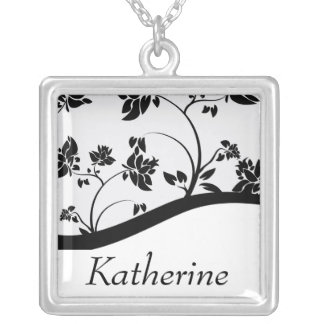 Black & White Floral Bridal Party Gift Necklace