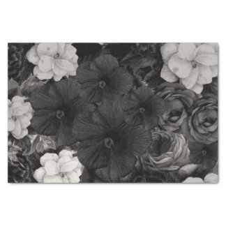 Black&White Floral Collage Tissue Paper