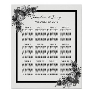Black & White Floral Country Wedding Seating Chart