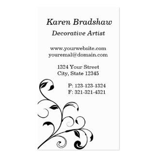 Black & White Floral Curls Business Cards