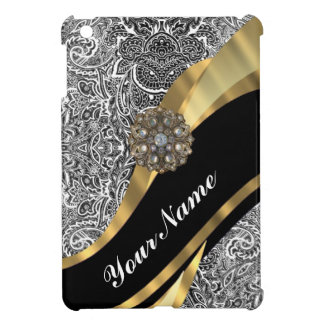 Black & white floral damask pattern case for the iPad mini