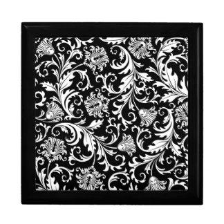 Black & White Floral Damask Pattern Gift Box