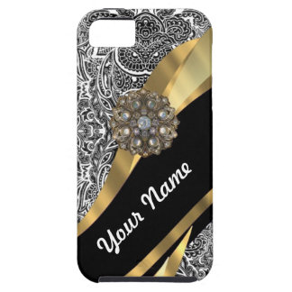 Black & white floral damask pattern iPhone 5 cases