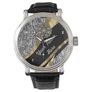 Black & white floral damask pattern watch