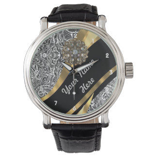 Black & white floral damask pattern wristwatches