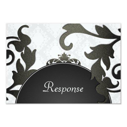 Black & White Floral Damask Wedding Response RSVP 9 Cm X 13 Cm Invitation Card