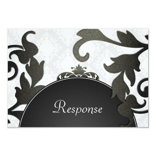 Black & White Floral Damask Wedding Response RSVP Card