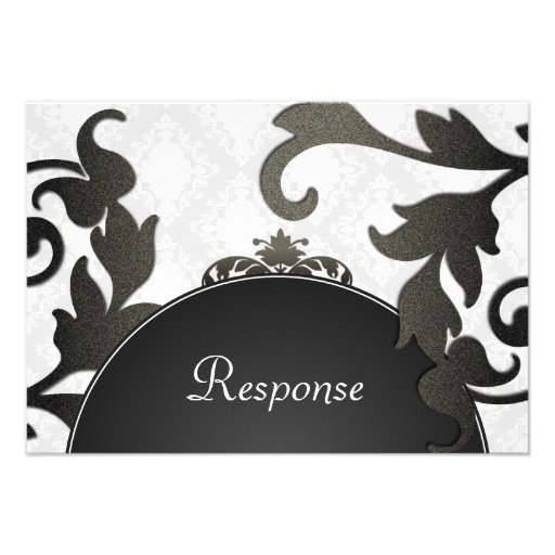 Black & White Floral Damask Wedding Response RSVP Personalized Invitations