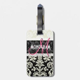 Black & White Floral Damasks Customised Bag Tag