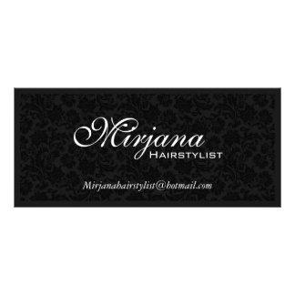 Black & White Floral Damasks Hairstylist Services Rack Card