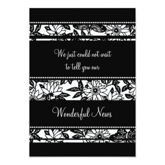 Black White Floral Elopement Announcement Cards