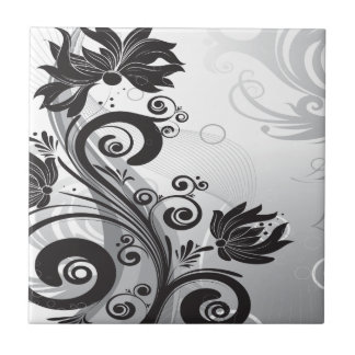 Black & White Floral Finesse Tile