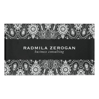 Black & White Floral Lace  Frame Name Tag