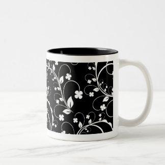 black&white floral mug