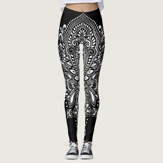 Black & White Floral Ornament Leggings