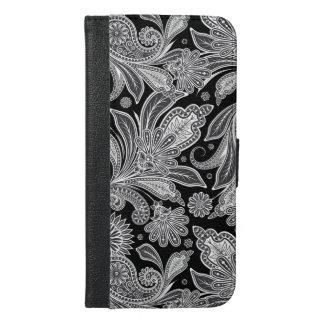 Black & White Floral Paisley Pattern iPhone 6/6s Plus Wallet Case